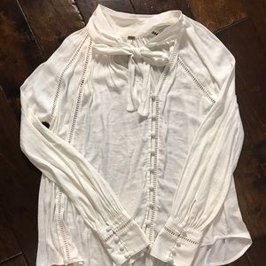 Free People Pussy Bow Blouse